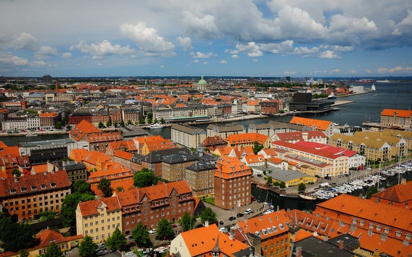 תצפית על העיר קופנהגן מראש המגדל העגול